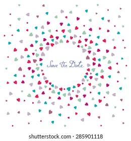 """Einladung Hochzeitskarte mit Herzkonfetti auf weißem Hintergrund und Worte """"Das Datum speichern"""""""