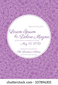 Invitation wedding card with Lace background vector template - for invitations, flyers, postcards, cards and so on