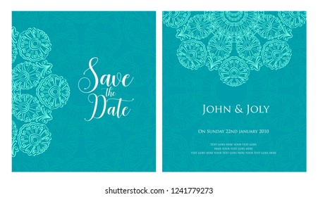 Invitation or wedding card with mandala vector illustration. Template of Business card, greeting card, Gift voucher, background pattern, fashion design.