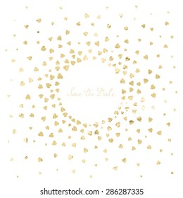 "Invitation wedding card with metal heart confetti on a white background and words ""Save the date"". Golden color. Vector illustration"