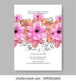 Wedding invitation thank you card save em vetor stock 148468268 invitation or wedding card with pink sakura jaspine peony floral rose dog background stopboris Images