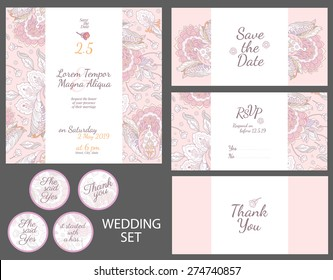 Invitation wedding card with watercolor flowers vector template - for invitations, flyers, postcards, cards and so on