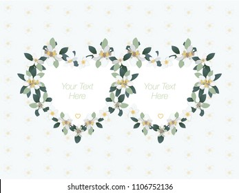 Invitation to a wedding or engagement with edelweiss flowers in the form of two hearts