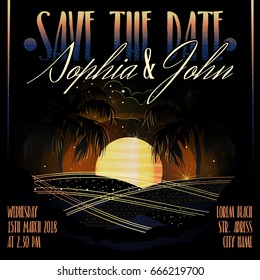 Invitation wedding (party) card / poster. Background (backdrop), night beach - ocean, sunset (sunrise), palms and stars. Gold on black. Vector illustration
