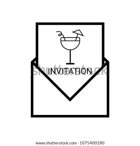 Invitation Outline Party Holiday Event Celebration Food Drink Stock
