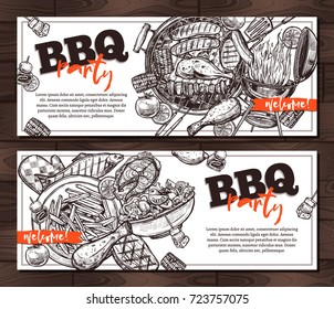 invitations barbecue party card templates on wooden background hand drawn sketch bbq grill food