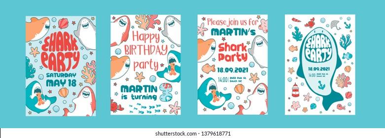 Invitations childrens holiday. Cute shark, sea fish, baby illustration