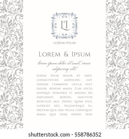 An invite card with floral monogram template. Wedding invitation in pastel colors, classic background with floral seamless pattern in a simple design