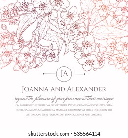 An invite card with hand drawn jasmine flowers flowing down. Wedding invitation and event sample with colorful contour drawing of flowers. Classic floral background
