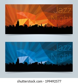 Invite or event banner design with New York skyline and colorful abstract sky