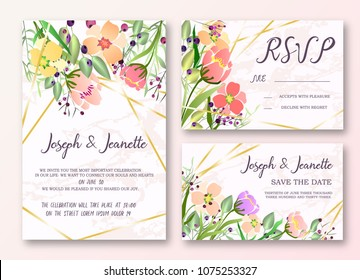Invite Template Wedding Cards. RSVP, Save The Date, Retro Beautiful Pink Marble Design With Flovers, Grean Leaf, Berries And Branches Decorative Frame Pattern. Vector Illustration. EPS 10.