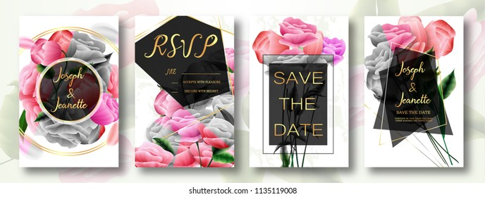Invite Template Wedding Cards. RSVP, Save The Date, Retro Beautiful White Pink Design With Flovers Roses Tulips, Green Leaf, Decorative Frame Pattern. Modern VIP style. Vector Illustration. EPS 10.