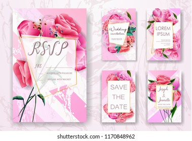 Invite Template Wedding Cards. RSVP, Save The Date, Retro Beautiful White Pink Design With Flovers Roses Tulips. Marble Gold, Decorative Frame Pattern. Modern VIP style. Vector Illustration. EPS 10.