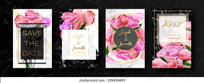 Invite Template Wedding Cards. RSVP, Save The Date, Retro Beautiful White Pink Design With Flovers Roses Tulips, Green Leaf. Modern VIP style. Vector Illustration. EPS 10.