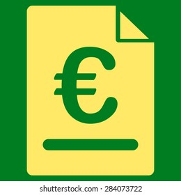 Invoice from BiColor Euro Banking Icon Set. Vector style: flat, yellow symbol, rounded angles, green background.