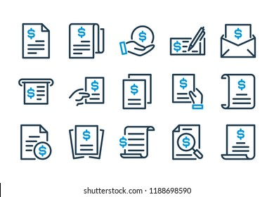 Invoice and bill related line icon set. Contract, statement, utility and calculation signs. Vector illustration.