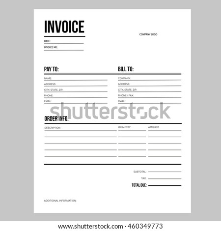 Invoice Business Template Letter Usa Standard Stock Vector Royalty