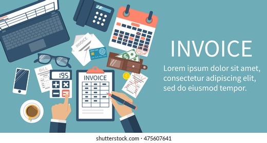 Invoice concept. Man at table, calculations on payment, bills, receipts, invoices. Flat design, abstract vector illustration. Accounting checking.