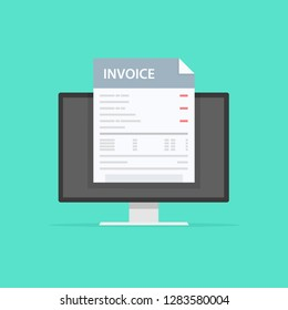 Invoice concept. Payment, bills, receipts, invoices. Flat design, abstract vector illustration. Accounting.