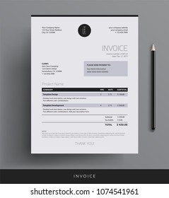 Invoice design template - bookkeeping services black and white vector sample