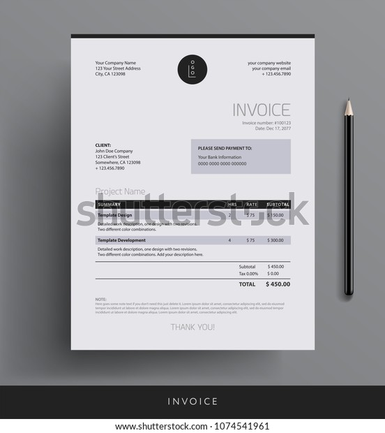Invoice Design Template Bookkeeping Services Black Stock