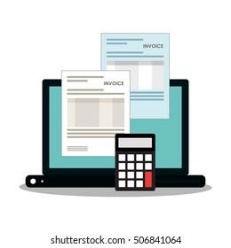 Invoice document and laptop design