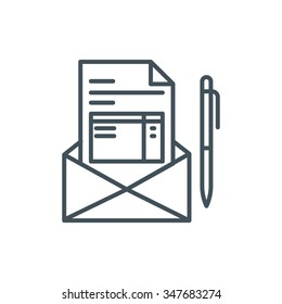 Invoice, email receipt icon suitable for info graphics, websites and print media. Colorful vector, flat icon, clip art.