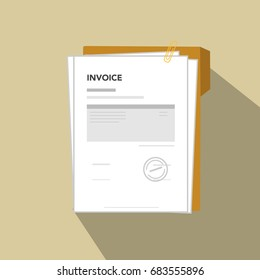 Invoice flat icon illustration, illustration invoice document with paper, template sheet, clip and folder.