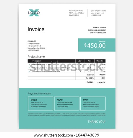 Invoice Form Design Template Teal Green Stock Vector Royalty Free