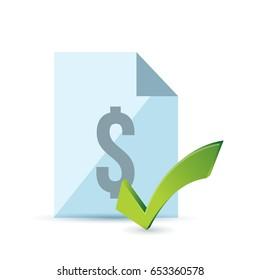 invoice and green check mark. illustration design over white