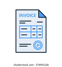 Invoice icon in flat line style, isolated on white background. Payment and billing invoices, business or financial operations sign. Vector icon invoice for services rendered