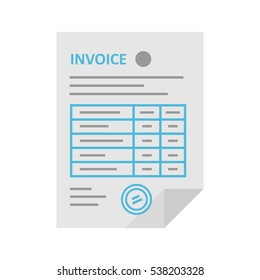 Invoice icon in the flat style, isolated from the background. Payment and billing invoices, business or financial operations sign.