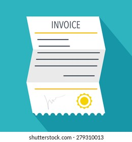Invoice icon in flat style. Vector illustration
