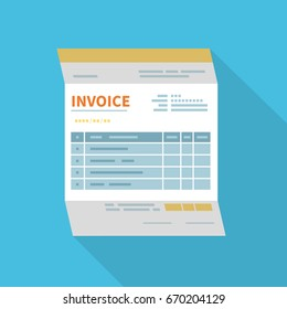 Invoice icon isolated with a long shadow. Unfilled, minimalistic form of the document. Payment and invoicing, business or financial operations sign. Template design in the flat style. Vector