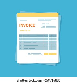 Invoice icon isolated on a blue background. Unfilled, minimalistic form of the document. Payment and invoicing, business or financial operations sign. Template design in the flat style.  Vector