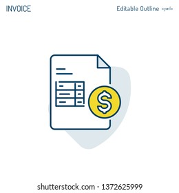 Invoice icon, Payment icon, Medical bill, Banking transaction receipt, Online shopping invoice, Procurement expense, Money document file, Editable stroke