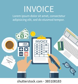 Invoice. Man at table, calculations on payment, bills, receipts. Flat design, abstract vector. Invoice bill concept. Accounting checking. Paperwork. Calculator, laptop, money.