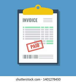 invoice with paid stamp in clipboard