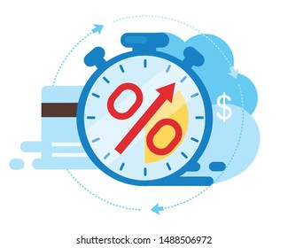 Invoice payment term flat vector illustration. Time is money cartoon concept. Investment period isolated metaphor on white background. Deposit time. Credit card debt. Loan term and interest rate