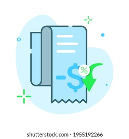 invoice, receipt paper, cost effective, more cheaper price, discount concept illustration flat design vector eps10. modern graphic element for icon, landing page, empty state ui, infographic