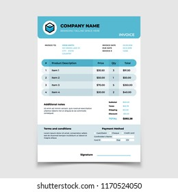 invoice template bill form bookkeeping vector document design vector accounting service price calculation