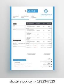 Invoice Template Design, Corporate Invoice Design Template, Vector Invoice Template.