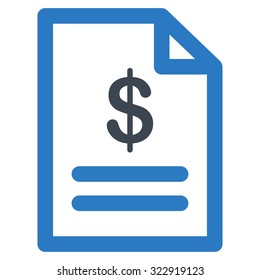 Invoice vector icon. Style is bicolor flat symbol, smooth blue colors, rounded angles, white background.