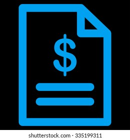 Invoice vector icon. Style is flat symbol, blue color, rounded angles, black background.