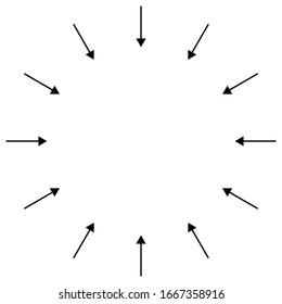 Inward circular, radial arrows