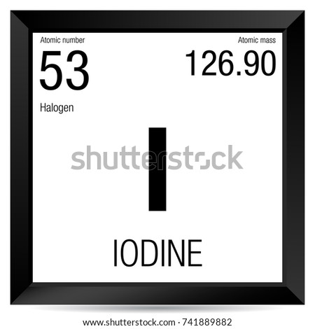Iodine Symbol Element Number 53 Periodic Stock Vector Royalty Free