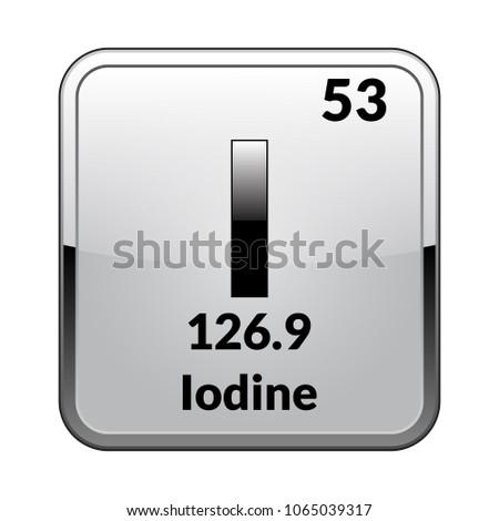 Iodine Symbol Chemical Element Periodic Table On Stock Vector