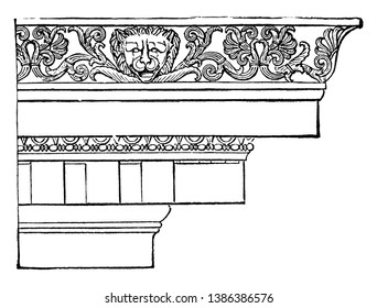 Ionic Cornice from the Temple of Minerva Polias at Priene, entablature resting on the columns, three parts, a plain architrave divided, more generally, a frieze resting, vintage line drawing