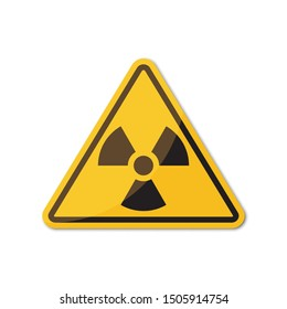 Ionizing radiation yellow sign with shadow on a white background
