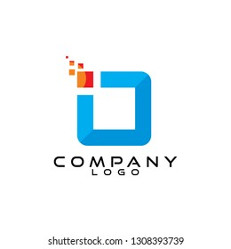 io/oi letter tech/ict and it logo design vector